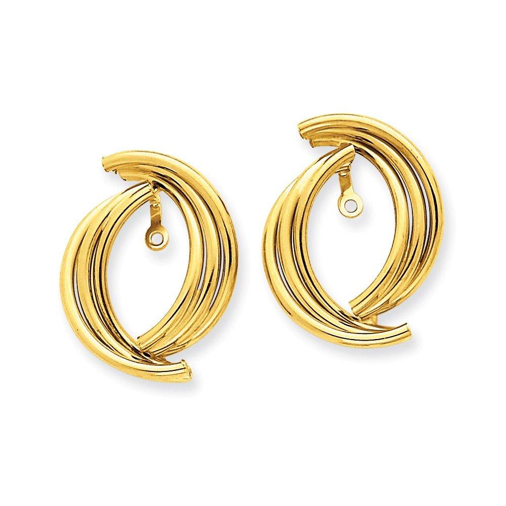 14k Yellow Gold Polished Fancy Earring Jackets by Bijou
