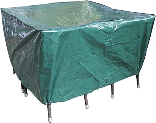 Laxllent Funda para Mesa de Jardín Impermeable al Viento Resistencia Funda para Muebles de Patio al Aire Libre, 135 x 135 x 70 cm, Verde: Amazon.es: Jardín