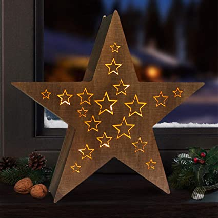 bright zeal wooden marquee star light signs for christmas decorations 145 tall 8hr - Battery Operated Christmas Decorations