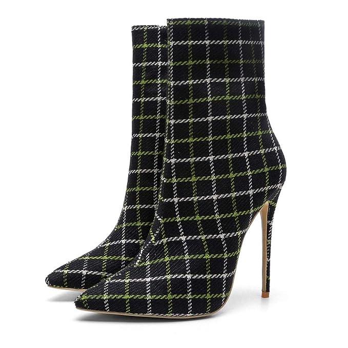060ee8584e672 Amazon.com: FCXBQ Plaid High Stiletto Heels Ankle Boots Large Size ...