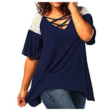 79e92b51 Inkach Plus Size Womens Summer T-Shirt ❤ Sexy Lace Splicing Short Sleeve  Blouses