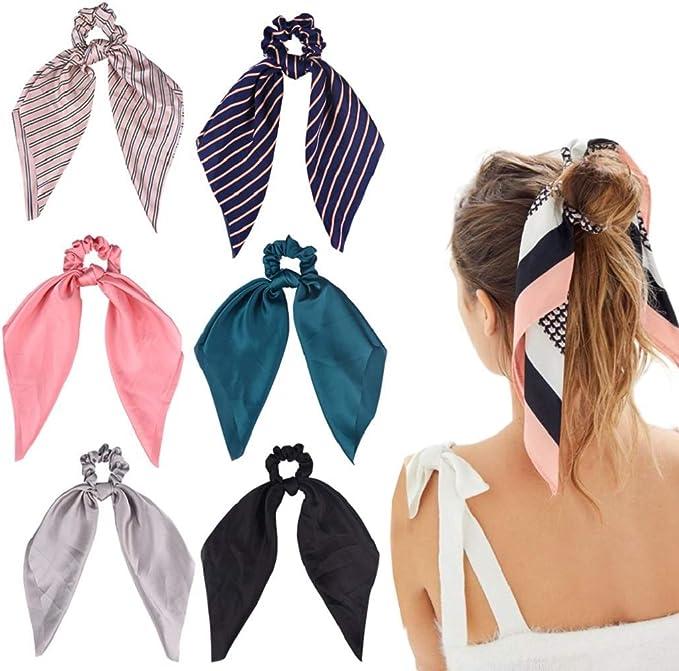 con orecchie di coniglio per sport e balli in filo di ferro con fiocco colorato 6 fasce per capelli da donna con stampa leopardata elastico
