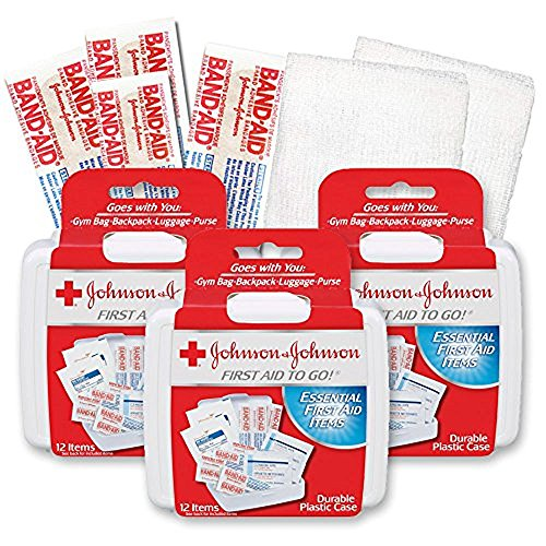 Johnson & Johnson First First Aid Kit Travel Size (Pack of 3 -- First Aid Kit for Car, Office, - Kit Travel Aid First