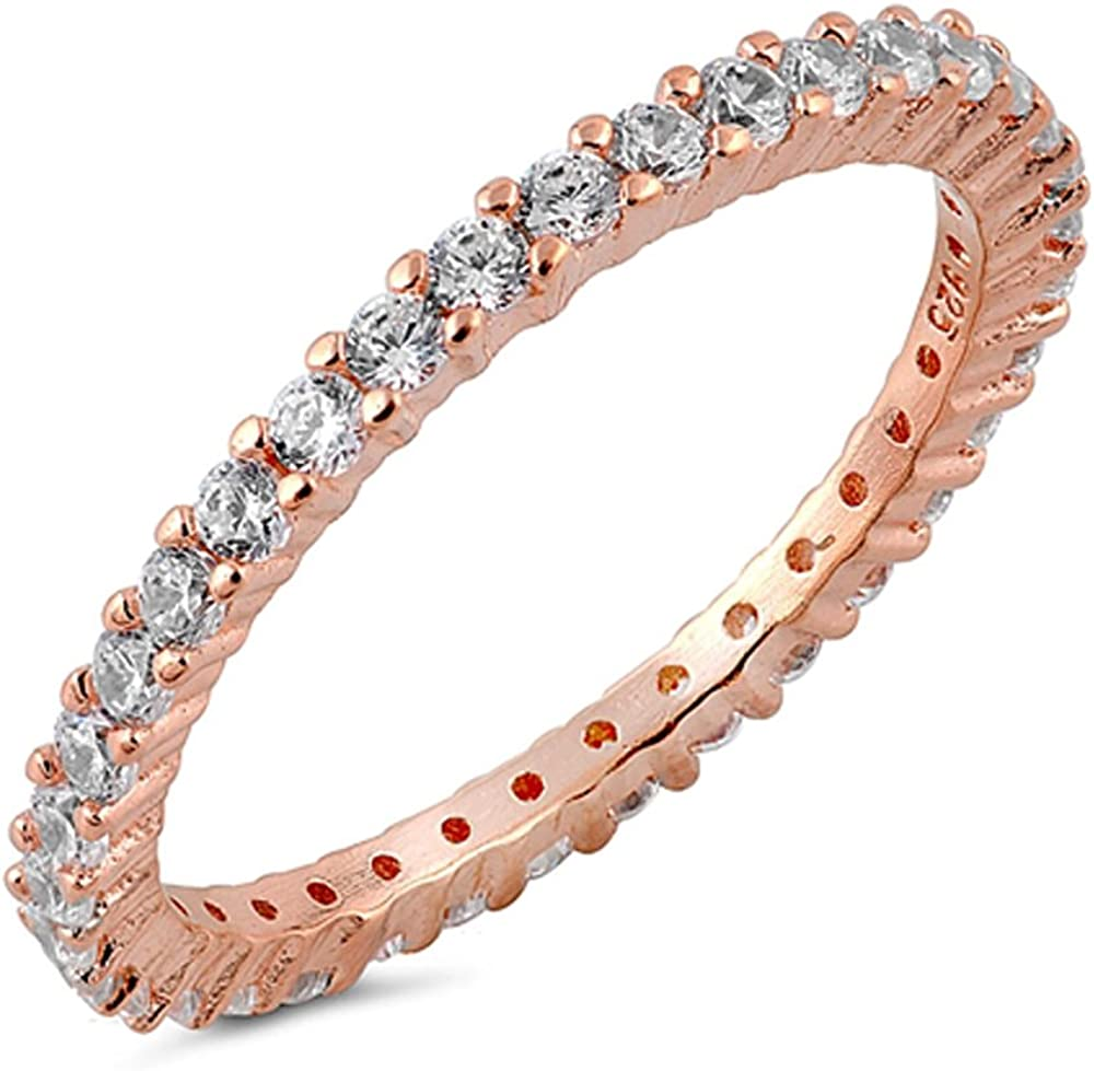 3.5 mm Round CZ Rose Gold 925 Silver Stackable Eternity Bridal Band Ring Size 10