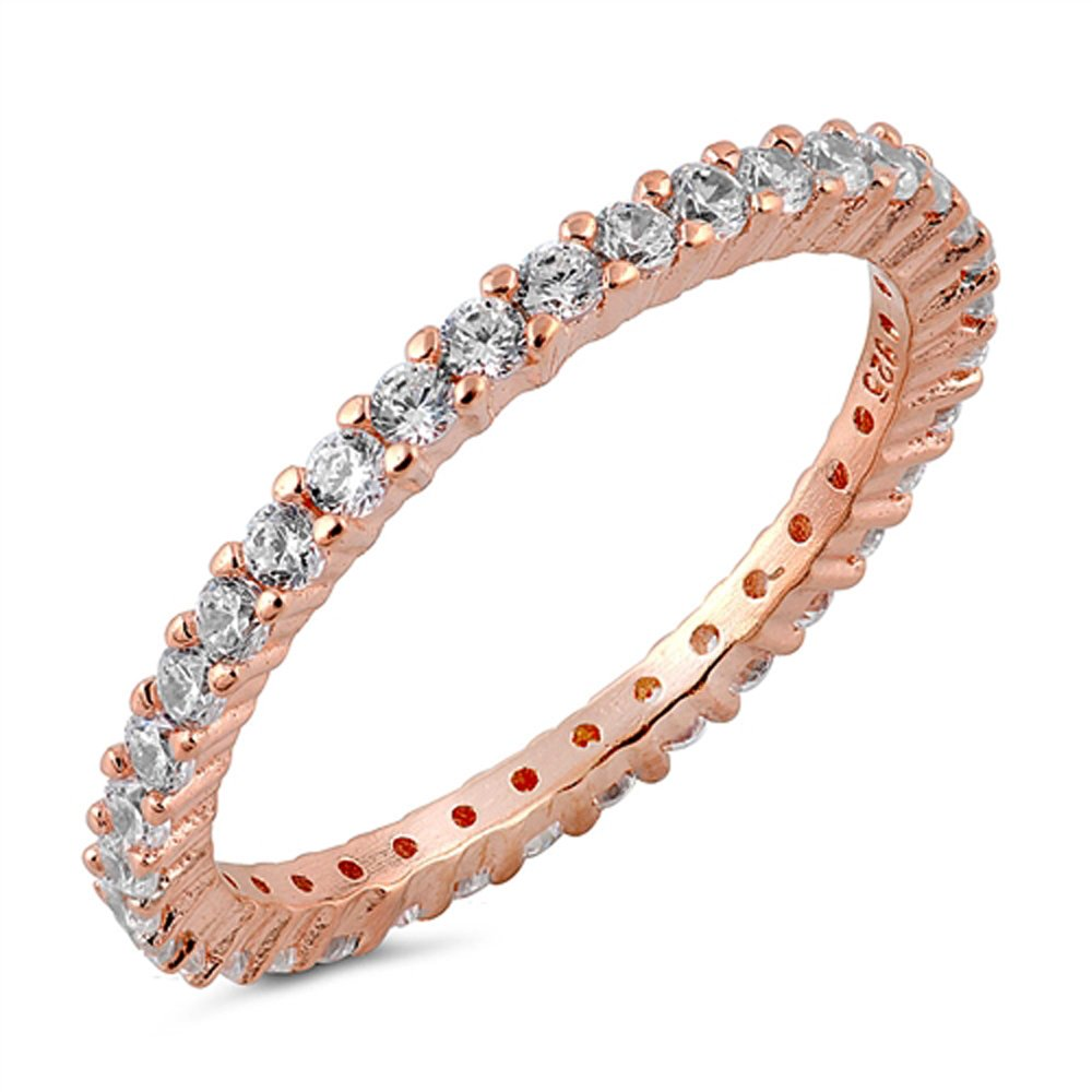 Stackable Eternity Rose Gold 925 Sterling Silver Ring Sizes 3-12 (12)