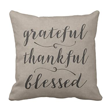 Emvency Throw Pillow Cover Grateful Thankful Blessed Rustic Script Damask Decorative Pillow Case Vintage Home Decor Square 18x18 Inch Cushion Pillowcase