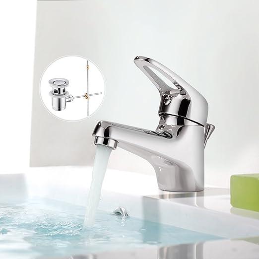 BONADE Chrom Wasserfall Einhand-Waschtischarmatur mit Pop-Up ...