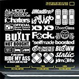 jdm euro sticker decal pack drift racing car turbo umadbro selfmade boosted blown static ride my ass tuned auto road vehicle highway passenger microcar fitment bimmer supercar subie hubcap clutch belts