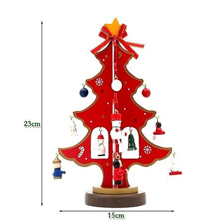 wshine tabletop mini wooden christmas tree with miniature christmas ornaments red - Miniature Christmas Decorations Uk