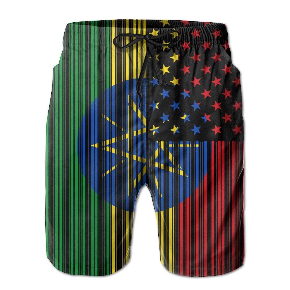 Bar Coded USA Ethiopian Flag Mens Printing Board//Beach Shorts Summer Casual Beachwear Pockets