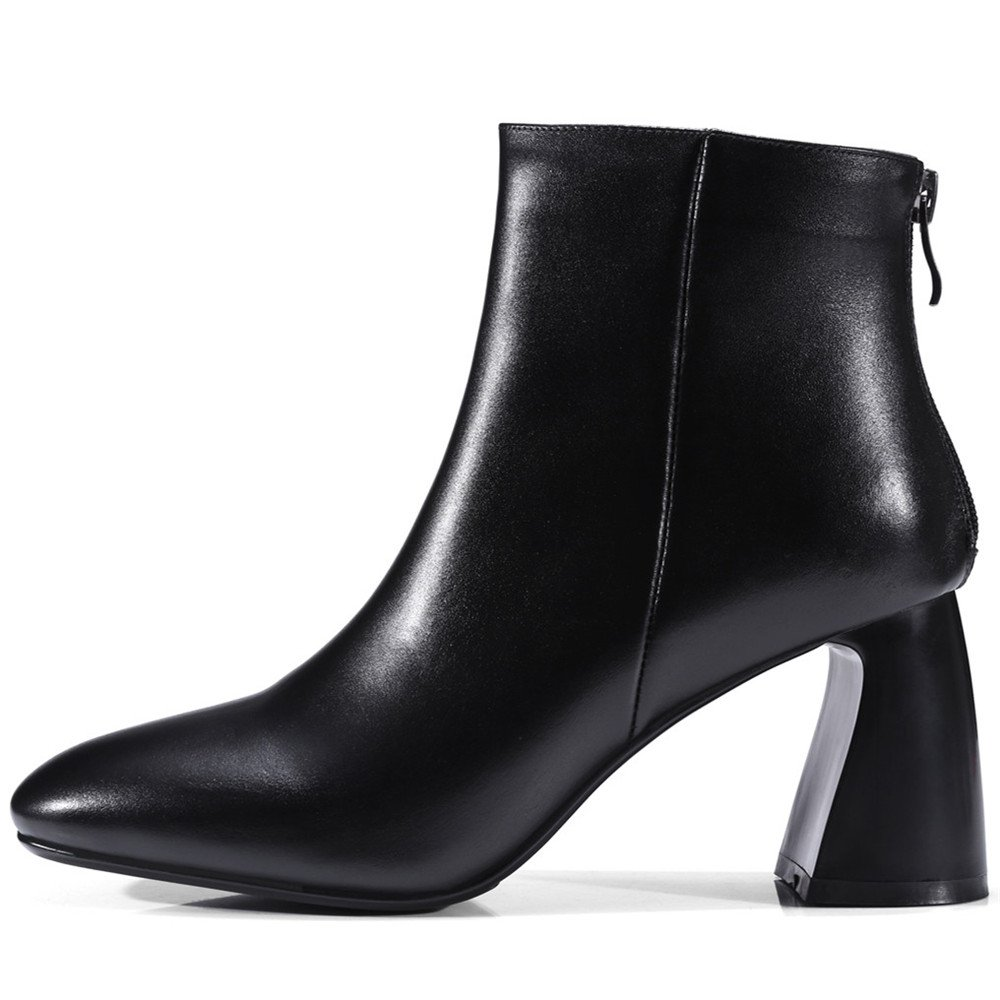 Nine Seven Genuine Leather Womens Round Toe Chunky Heel Basic Designed Handmade Business Ankle Boots