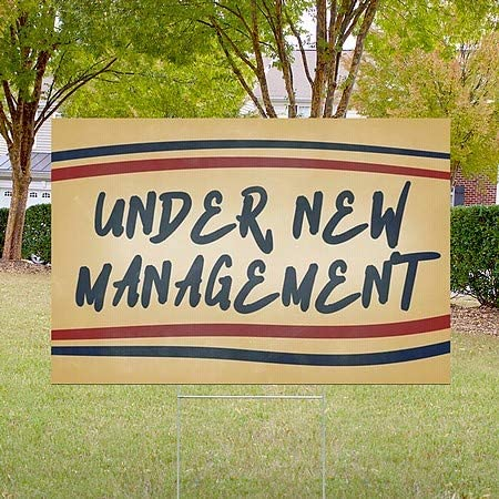27x18 Under New Management Nostalgia Stripes Double-Sided Weather-Resistant Yard Sign CGSignLab 5-Pack