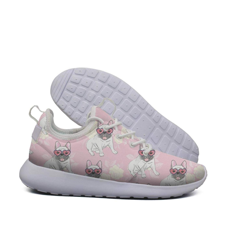 AKDJDS French bulldog heart sunglasses pink Running Shoe Walking Shoes Womens Shoes