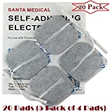 "Santamedical 20 White 2"" X 2"" Re-Usable Carbon Electrode Pads with Premium Gel - Satisfaction Guaranteed"