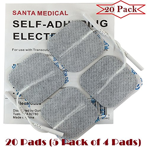 """Santamedical 20 White 2"""" X 2"""" Re-Usable Carbon Electrode Pads with Premium Gel - Satisfaction Guaranteed"""
