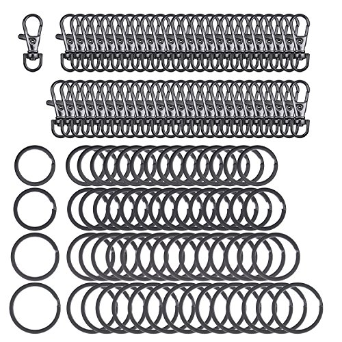 (Sunmns 100 Pieces Metal Lanyard Snap Hook Lobster Claw Clasp with Flat Split Key Rings, Black)