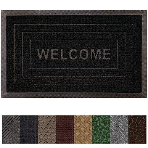 Gorilla Grip Original Durable Rubber Door Mat (29 x 17) Heavy Duty Doormat, Indoor Outdoor, Waterproof, Easy Clean, Low-Profile Rug Mats for Entry, Garage, Patio, High Traffic Areas (Black: Welcome)