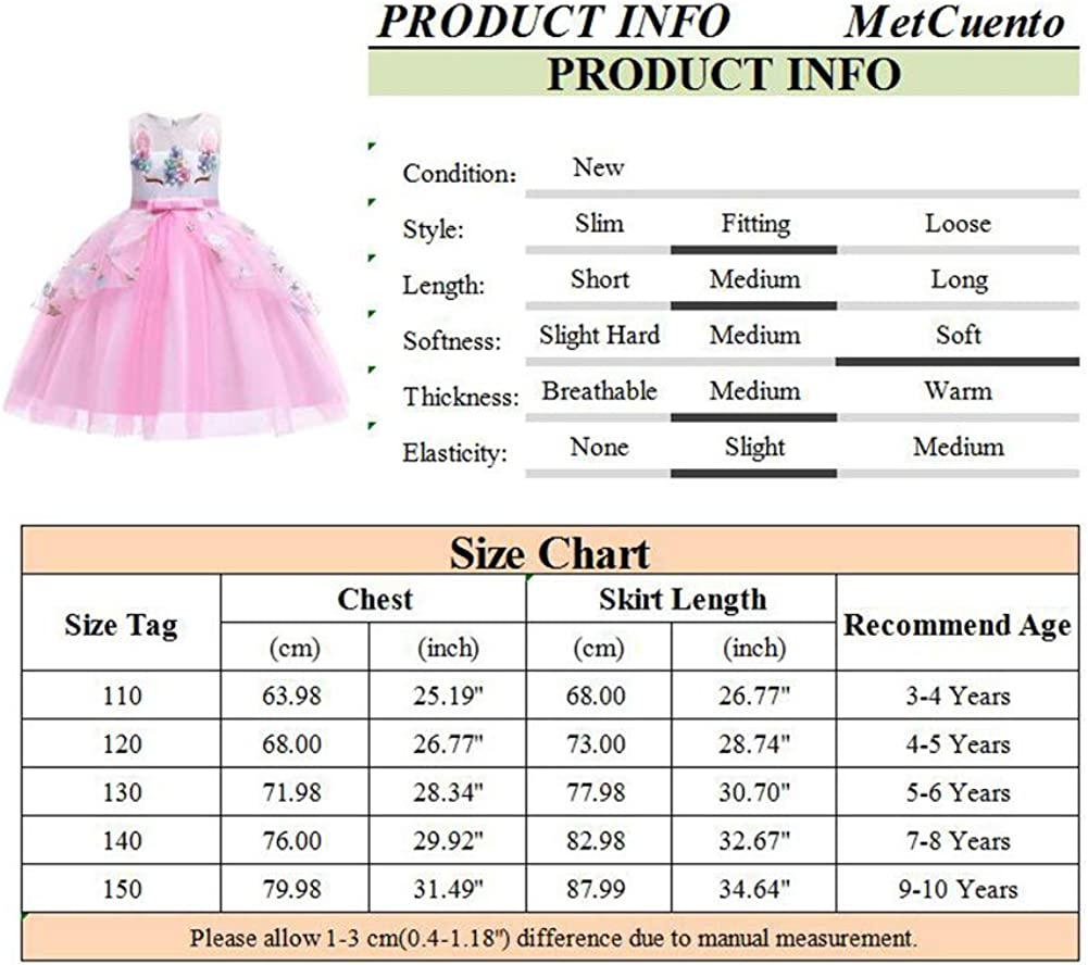 MetCuento Unicorn Costume for Girls Dress Up Rainbow Fancy Pageant Princess Party Dress Birthday Gift Halloween Outfit