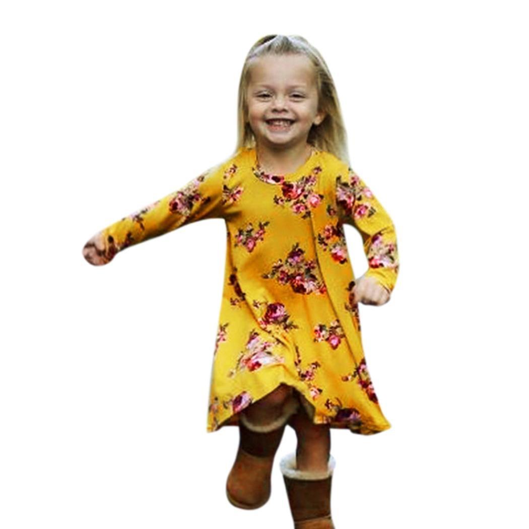 TiTCool Little Girls Dress Casual Forest Garden Flower Hi-Lo Long Sleeve Pretty 3-7T (6T, Yellow)