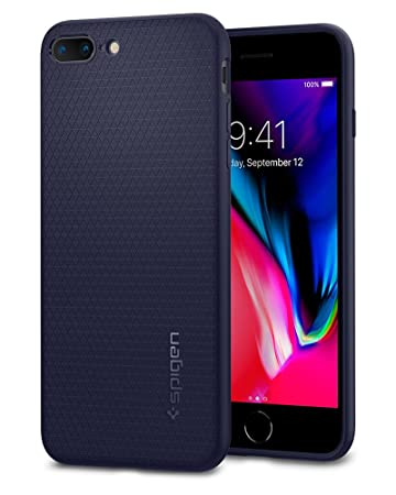 【Spigen】 スマホケース iPhone8 Plus ケース / iPhone7 Plus ケース 対応 TPU 米軍MIL規格取得 耐衝撃 リキッド・エアー 043CS21191 (ミッドナイト・ブルー)