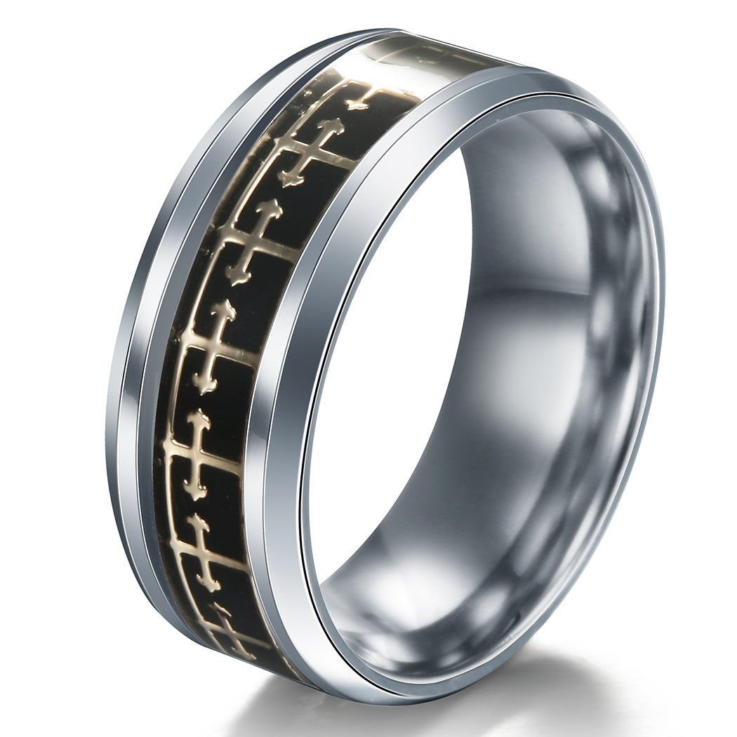 A.Yupha Cross Logo Christian Titanium Stainless Steel Band Ring Men Women Size 6-13#Gold+Black (8)