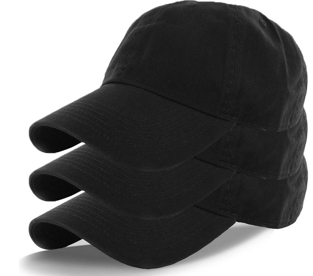 Plain 100% Cotton Hat Men Women Adjustable Baseball Cap (30+ Colors) (3 Pack Black)