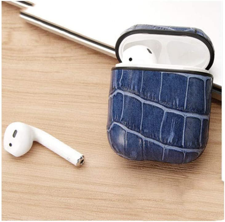 Retro Wireless Bluetooth Headset Luxury Leather Storage Bag Anti-Lost Rope Protect Your Bluetooth Headset from harm HJAZ Suitable for AirPods Headset Sets Color : Blue, Material : Silica Gel