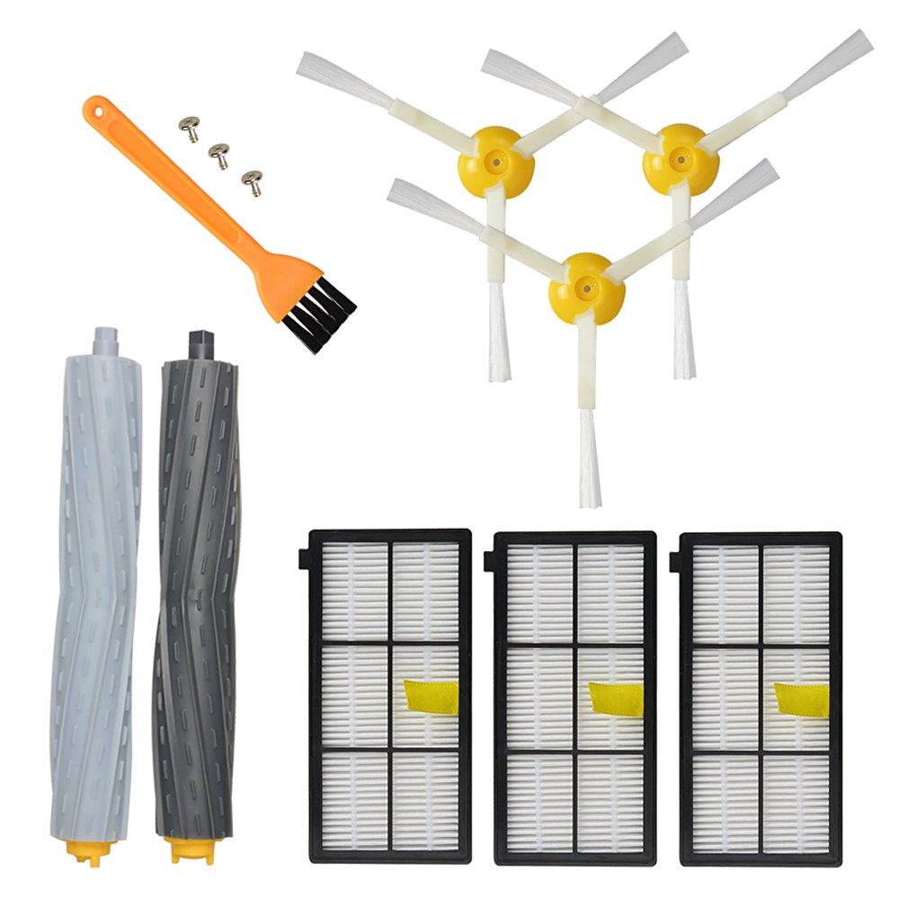 Lehom 8 PCS Replenishment Parts with 1 Set Extractors & 3 Hepa Filters & 3 Side Brush for iRobot Roomba 860 870 880 960 980 Vacuum Cleaner Accessory