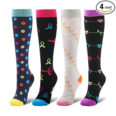 750e663b59f03 Amazon.com : YOLIX Compression Socks Women and Men 20-30 mmHg - 4 to ...