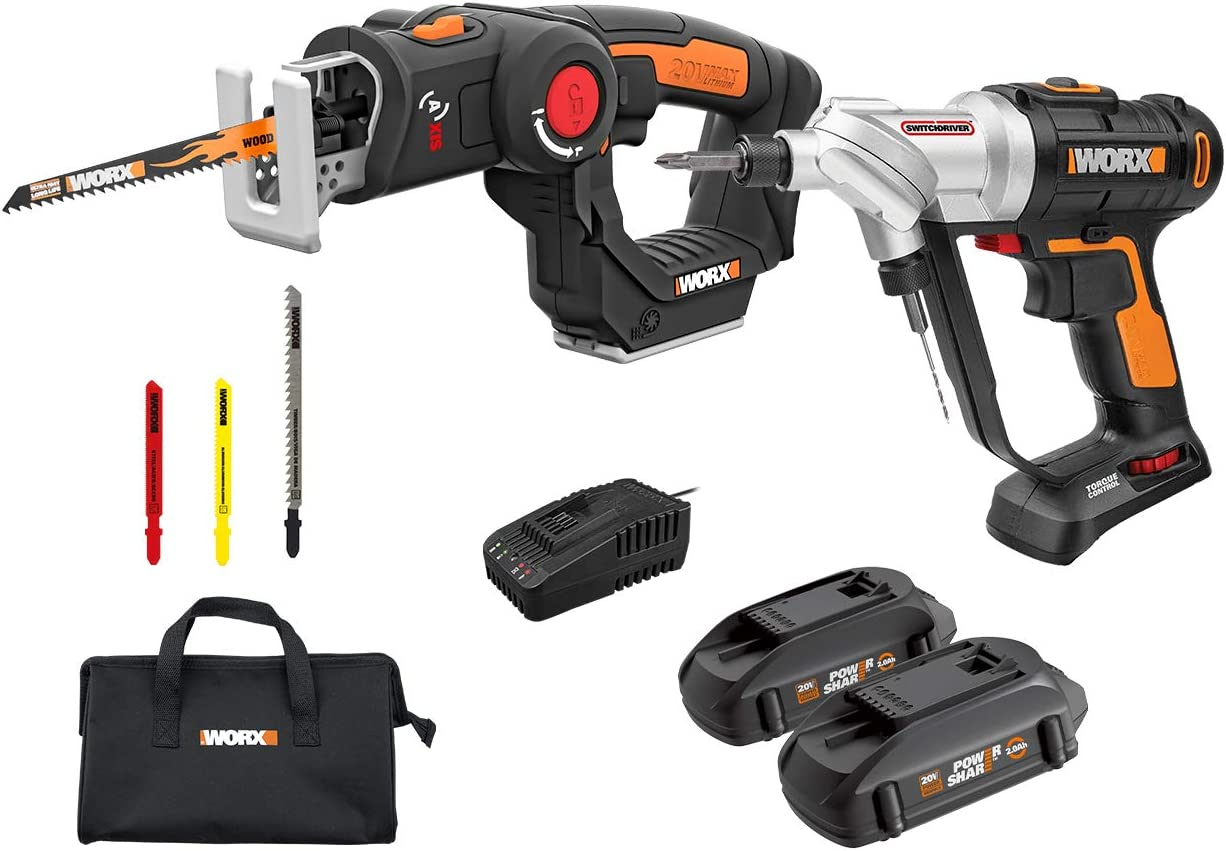 WORX WX913L 20V Cordless Switchdriver WX176L and 20V Cordless AXIS Multipurpose Saw WX550L Combo Kit Battery and Charger Included