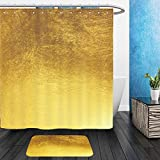 Vanfan Bathroom 2 Suits 1 Shower Curtains & 1 Floor Mats shiny yellow leaf gold foil texture background 566286685 From Bath room