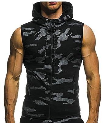5b9f60e3176b5 yibiyuan Men Camouflage Tank Tops Casual Print Hooded Zipper Sleeveless Top  Vest at Amazon Men s Clothing store