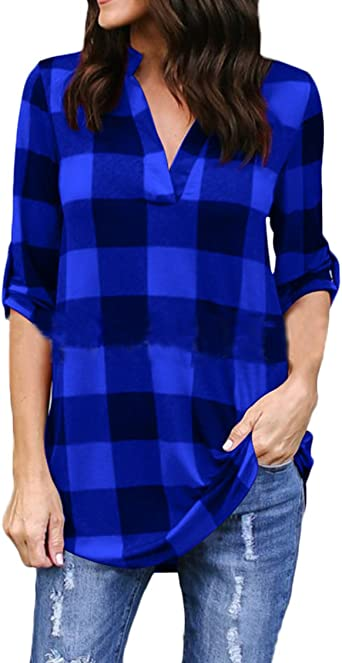 Camisas Mujer Manga Larga V Cuello A Cuadros Blusas Elegantes ...