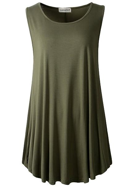 9f50f6487 LARACE Women Solid Sleeveless Tunic for Leggings Swing Flare Tank ...