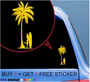 Custom Decal for Beach Girl with Surfing Board Die Cut Vinyl Sticker Decal for Car, Truck, Jeep, Window, Bumper Decal for Phone, Laptop Home Decoration / 8 x 4 in/Yellow