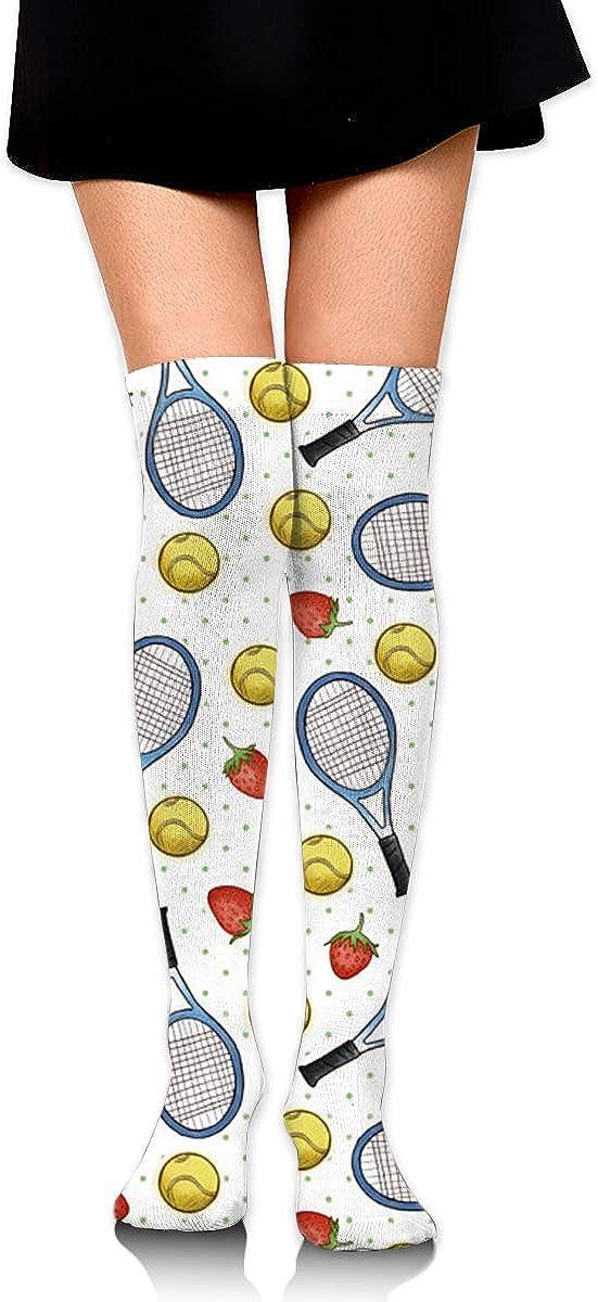 Amazon.com: Calcetines altos de rodilla para tenis y fresas ...