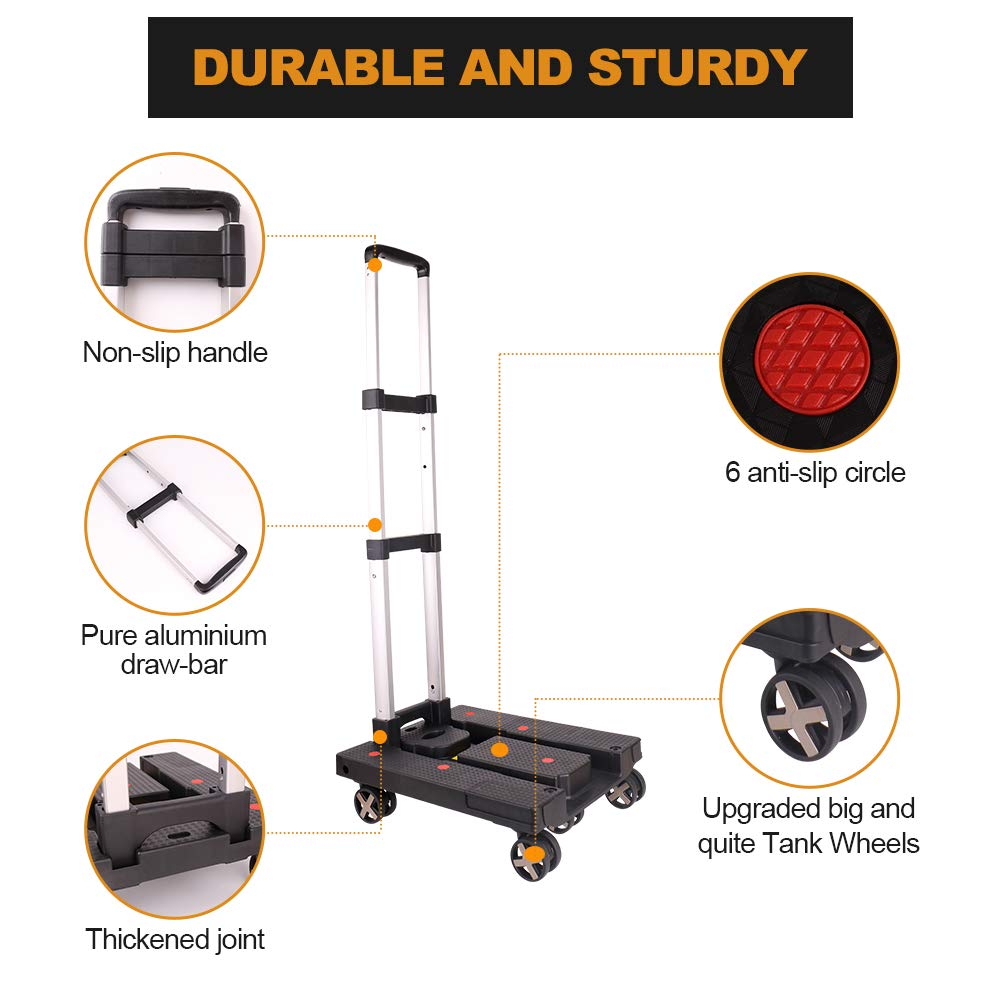 8b6f0402ceea Portable Heavy Duty Aluminum Hand Truck and Dolly with 5 Wheels and ...