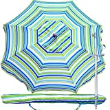 Snail Beach Umbrella, 7 ft Sand Anchor with Tilt Aluminum Pole, Portable UV