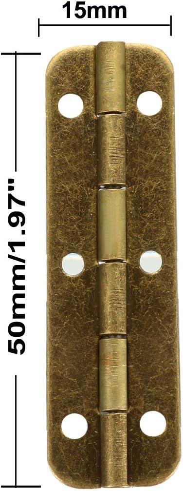 uxcell Antik Bronze Butt Scharniere Retro Mini Scharnier Ersatz mit Schraube 1.97 * 0.37 10pcs L*W Antique Bronze