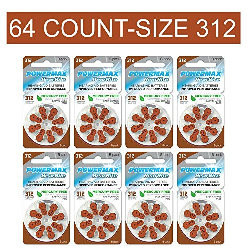 Mercury Battery Replacement - Powermax Size 312 Hearing Aid Batteries, Brown Tab, Zinc Air Mercury-Free, HearRite, 64 Count