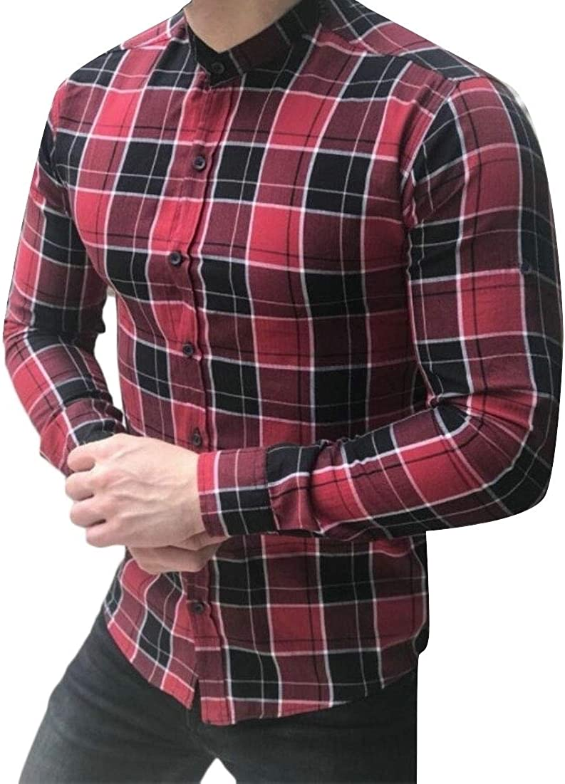 Xswsy XG Mens Slim Plaid Casual Long Sleeve Shirt Button Down Shirts