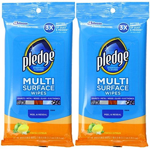 Pledge Multi Surface Wipes, Fresh Citrus, 25 Count (Pack of 2)