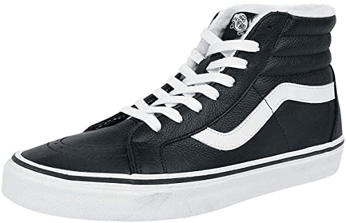 558acb7a80 Vans SK8 Hi Black White Leather Fleece Mens Skate Trainers  Amazon ...