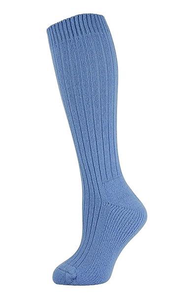 Mysocks® Calcetines de lana merino hasta la rodilla Llanura Azul