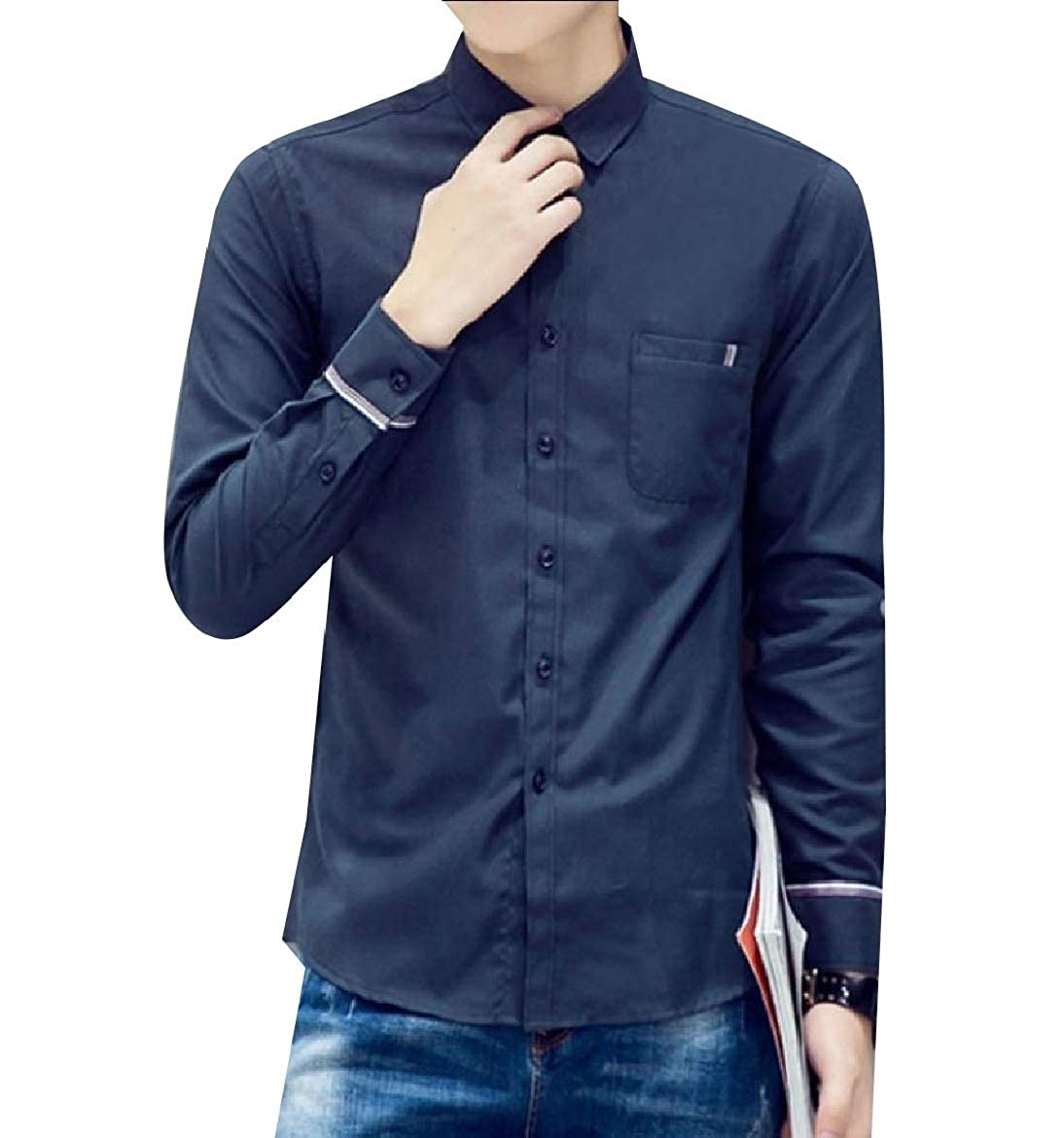 YUNY Men Business Slim Fitting Oversized Classic Solid Western Shirt Navy Blue S