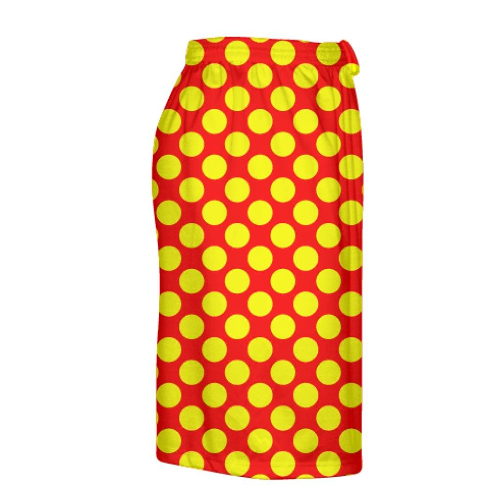 Boys Lacrosse Shorts Youth Red Yellow Polka Dot Shorts Mens Lacrosse Short Youth Red