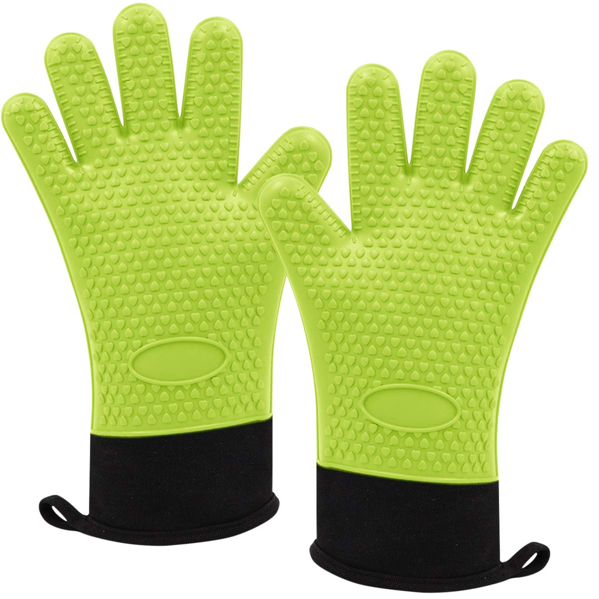 Oven Gloves, Heat Resistant Grilling mitts Kitchen Silicone mitts Long oven mitts Internal protective cotton layer, Non-Slip Baking Gloves, BBQ Cooking Gloves (Green)