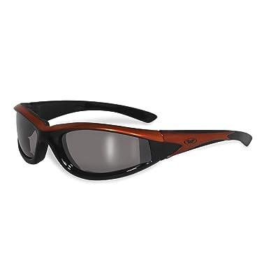 Global Vision Hawkeye dunkel verspiegelte Sonnenbrille grauer Rahmen Bruchsichere Linsen Winddicht mit Polster UV400 xLrUztfXCN