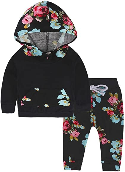 Sfuzwg Infant Baby Boy Girl Hooded Sweatshirt Pants Headband Toddler Floral Outfits