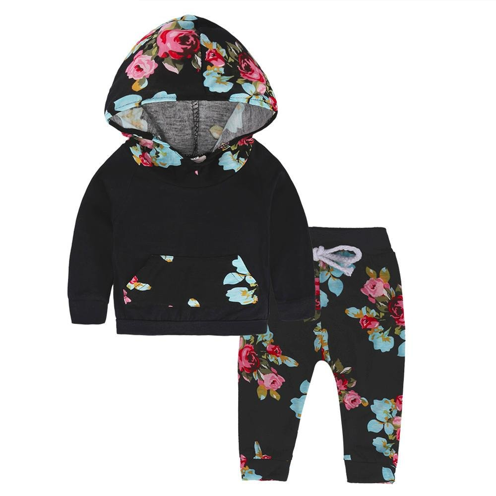 Clode® Baby Girls Flower Hoodie Tshirt Long Floral Pants Tracksuit Outfit Clode-T65